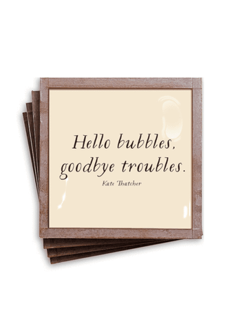 Hello Bubbles Goodbye Troubles Copper & Glass Coasters-Set of 4