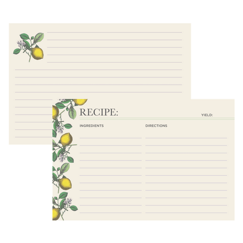 Lemon Recipe Card Set of 12