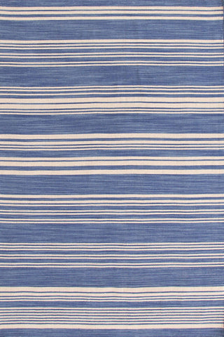 Cottage Stripe French Blue Wool Woven Rug.