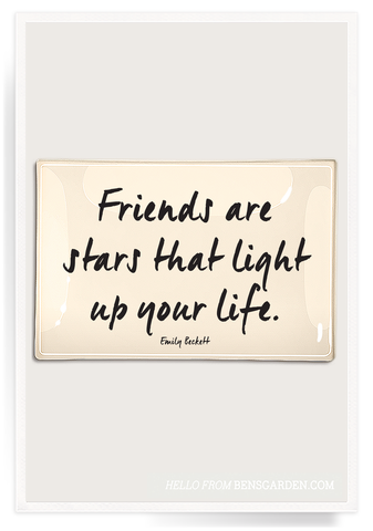 Friends Are The Stars That Light Up Decoupage Glass Tray 4x6