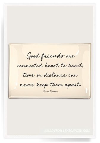 Good Friends Are Connected Heart Decoupage Glass Tray 4x6