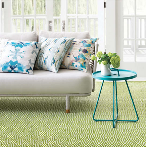 Diamond Sprout/White Indoor/Outdoor Rug.
