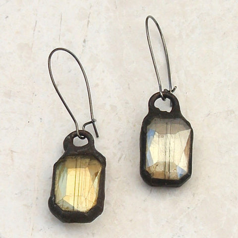 Soldered Rectangle Earring on Kidney Wire