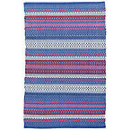 Fiesta Stripe Indoor Outdoor Blue/Red Rug.