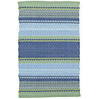 Fiesta Stripe French Blue/Green Indoor Outdoor Rug.