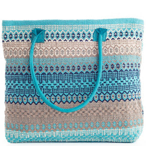 Gypsy Stripe Turquoise/Grey Woven Cotton Tote Bag