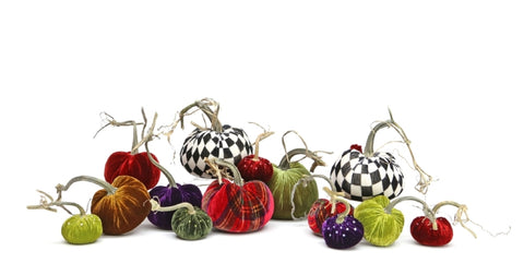 "Hot Skwash Velvet Pumpkins, 4"" Assorted"