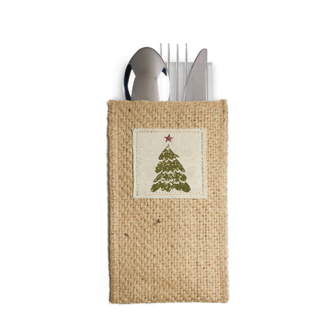 Christmas Tree Silverware Pouch
