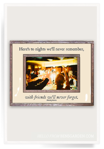 Here's To Nights With Friends Copper & Glass Frame 4x6
