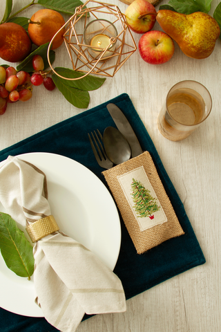 Evergreen Tree Silverware Pouch