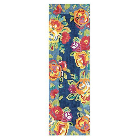 Cabbage Roses Navy Rug