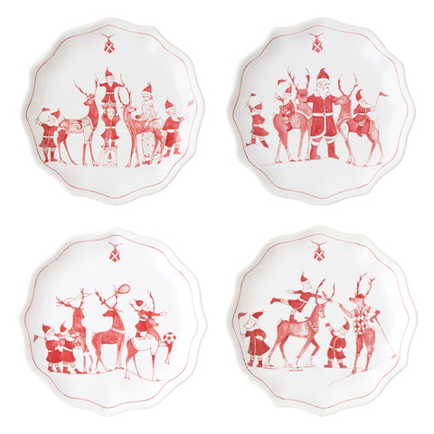 Country Estate Reindeer Games-Ruby Titbit Plates