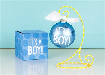 It's A Boy-Glass Ornament