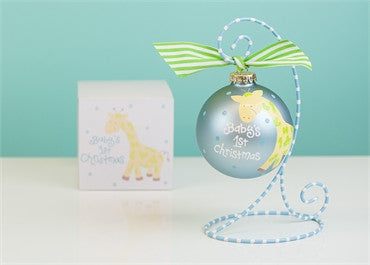 Giraffe-Blue Glass Ornament