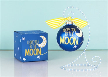 I Love You To The Moon And Back-Glass Ornament