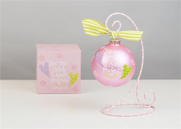 For This Child-Pink Glass Ornament