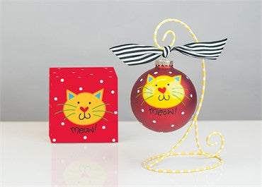 Meow-Red Cat Glass Ornament