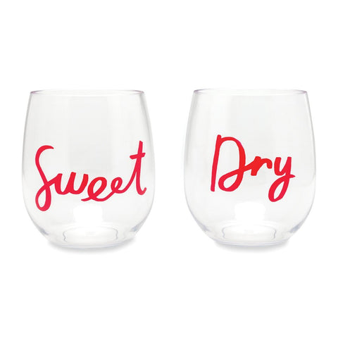 Kate Spade Acrylic Wine Glass Set-Sweet & Dry