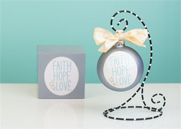 Faith Hope Love-Circle Glass Ornament