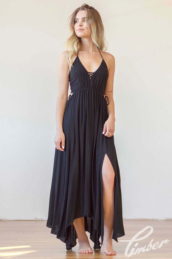 Lush Lace Up Halter Dress