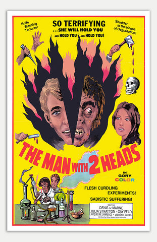 "Man with two Heads - 11"" x 17""  Movie Poster"