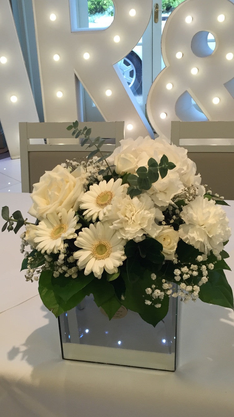 Pure White Mirror Cube Arrangement
