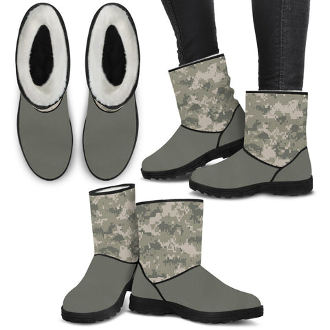 Digital Camo Faux Fur Boots