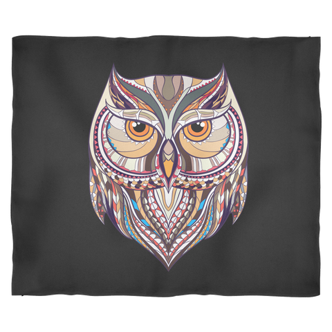 Ethnic Collection Blanket - Owl - Black