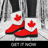 Flag Of Canada Faux Fur Boots