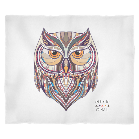Ethnic Collection Blanket - Owl - White