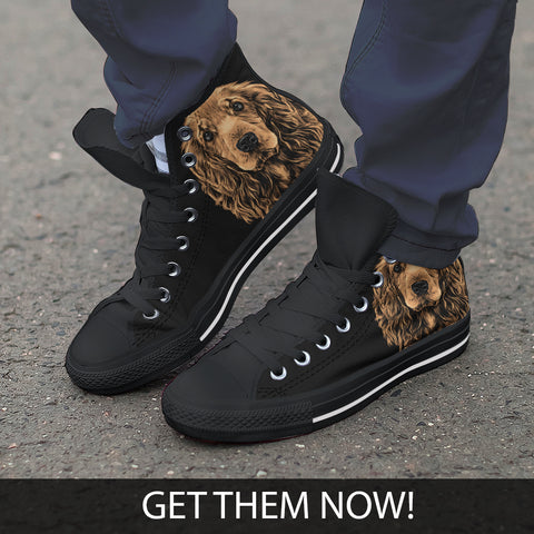 Cocker Spaniel Men's High Top Shoes