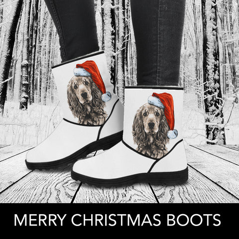 Christmas Cocker Spaniel Faux Fur Boots