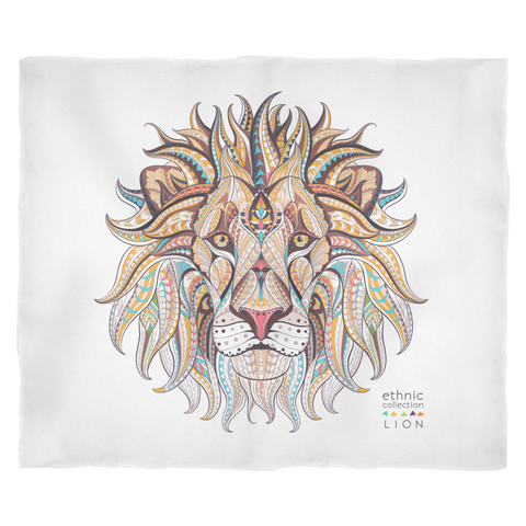 Ethnic Collection Blanket - Lion - White