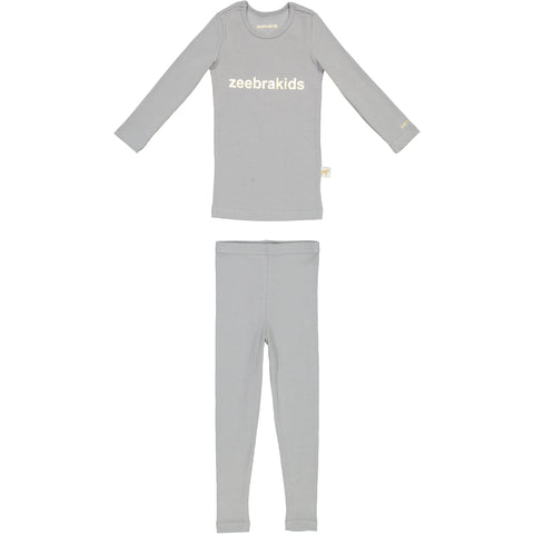 Zeebra Kids Ribbed Pajamas - Grey