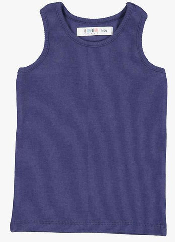 Coco Blanc Ribbed Tank Top - Blue