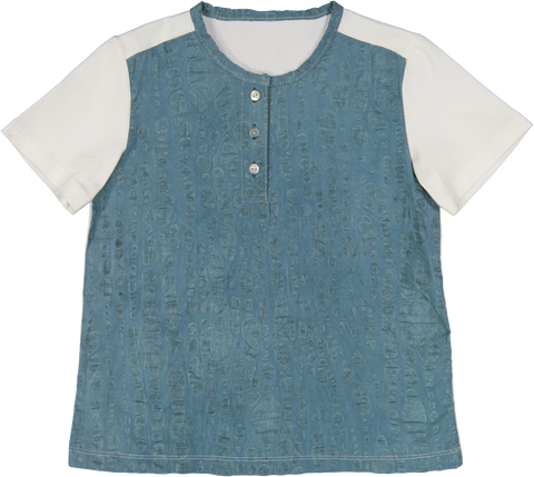 Belati Collarless Shirt - Teal/White
