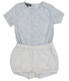Pompomme Baby Tunic with Bubble Shorts - Blue/White