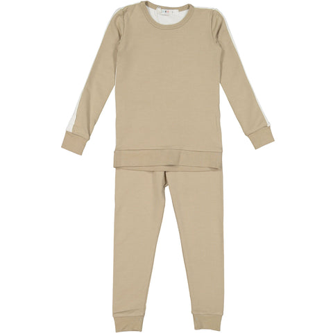 Coco Blanc Color Block Pajamas - Taupe/Cream