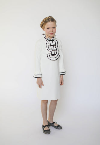 Aisabobo White Ruffle Collar Dress