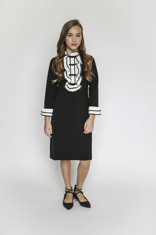 Aisabobo Black Ruffle Collar Dress