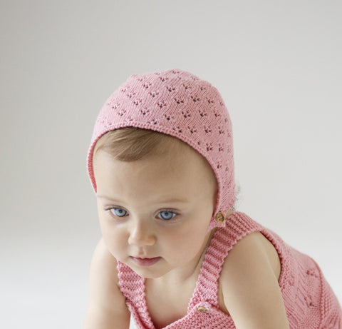Nueces Knit Baby Bonnet - Pink