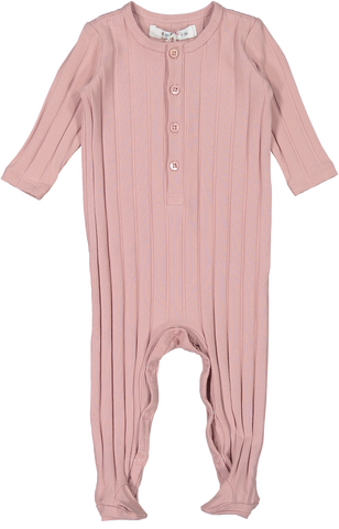 Coco Blanc Ribbed Baby Pajama - Dusty Pink
