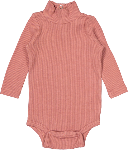 Coco Blanc Ribbed Turtle Onesie - Dusty Pink