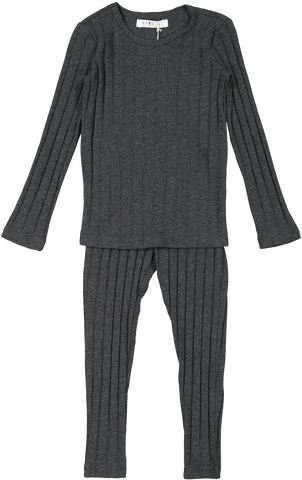 Coco Blanc Ribbed Pajama - Heather Grey