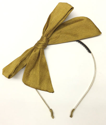 Rosie Bowsies Pop Up Silk Bow Headband - Mustard