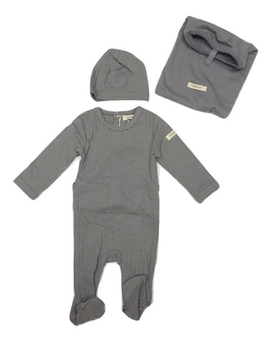 Fragile Ribbed Stretchie with Hat - Grey