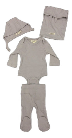 Fragile Ribbed Baby Gift Set with Hat - Light Grey