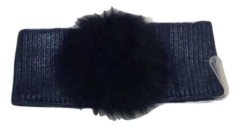 Blinq Metallic Pompom Headwrap - Navy