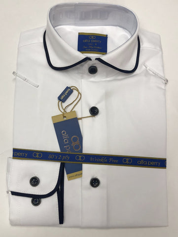 Alfa Perry Boys Shirt - Blue Piping