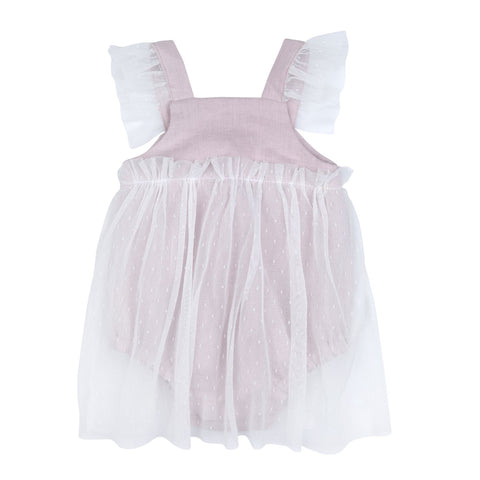 Bebe Organic Madeline Romper Dress - Dusty Pink